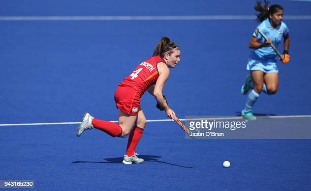 England's Laura Unsworth in action against India during Hockey on day four of the Gold Coast 2018 Commonwealth Games at Gold Coast Hockey Centre on...