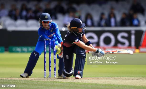 England's Lauren Winfield is bowled by India's Rajeshwari Gayakwad during the ICC Women's World Cup Final at Lord's London
