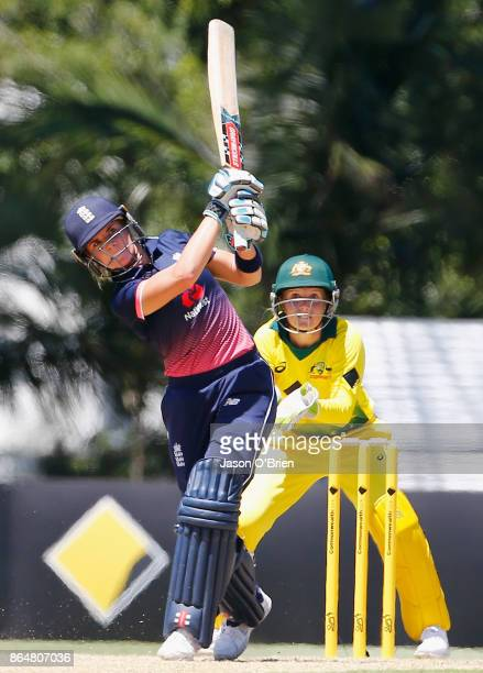 England's Lauren Winfield plays a shot during the Women's One Day International between Australia and England at Allan Border Field on October 22...