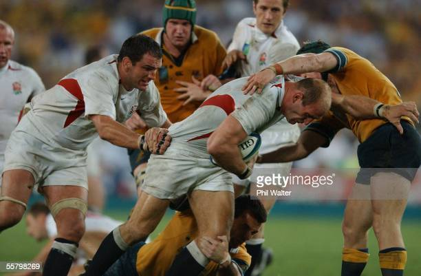 England's Lawrence Dallaglio is supported by Martin Johnson in the 2003 Rugby World Cup Final played against Australia at the Telstra...