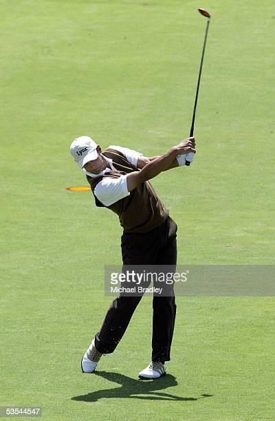 England's lee Slattery in action during the third day of the Holden New Zealand Golf Open, played at the Gulf Harbour Country Club north of Auckland,...