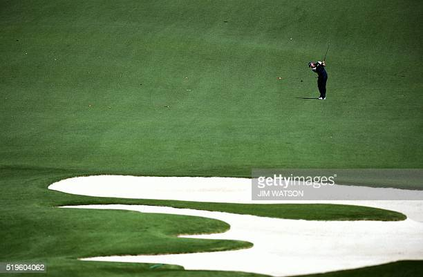 England's Lee Westwood plays a shot during Round 1 of the 80th Masters Golf Tournament at the Augusta National Golf Club on April 7 in Augusta...