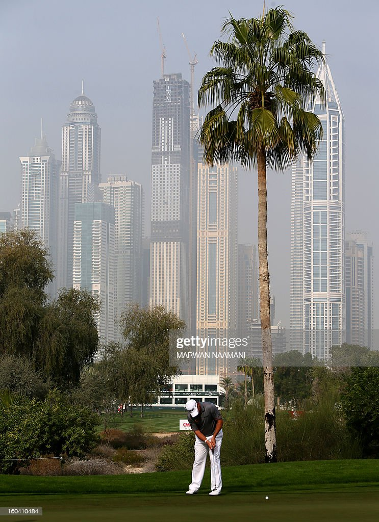 England's Lee Westwood plays a shot during the first round of the Dubai Desert Classic golf tournament in the Gulf emirate of Dubai on January 31, 2013.