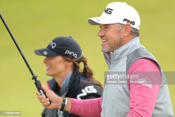 England's Lee Westwood with caddy and girlfriend Helen Storey during day four of The Open Championship 2019 at Royal Portrush Golf Club