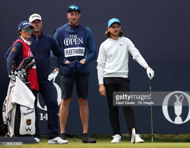 England's Lee Westwood with girlfriend and caddie Helen Storey with England's Tommy Fleetwood during day three of The Open Championship 2019 at Royal...