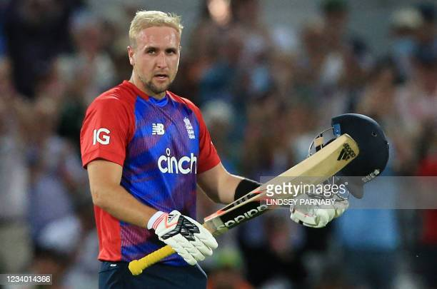 England's Liam Livingstone celebrates his century during the T20 cricket match between England and Pakistan at Trent Bridge, Nottingham, England on...