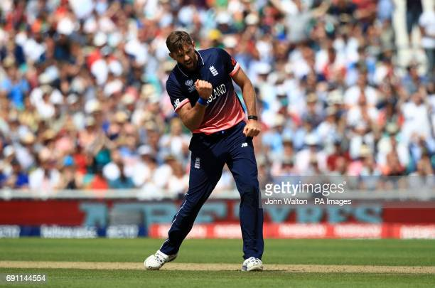 England's Liam Plunkett celebrates the wicket of Bangladesh's Sabbir Rahman for 24 caught by England's Jason Roy during the ICC Champions Trophy...