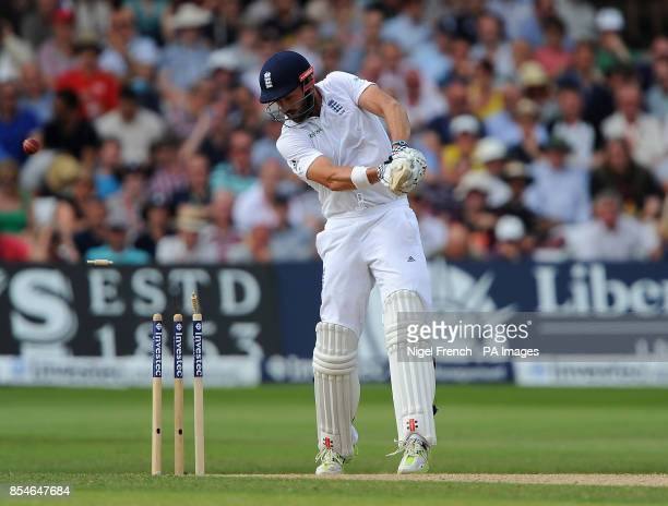 England's Liam Plunkett is bowled by India's Bhuvneshwar Kumar during day three of the first Investec test match at Trent Bridge Nottingham
