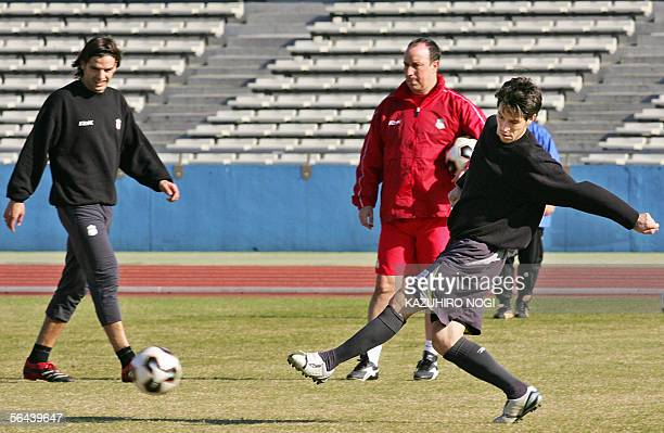 England's Liverpool FC Spanish midfielder Luis Garcia passes the ball during a training session for the World Club Championships in Kawasaki 16...