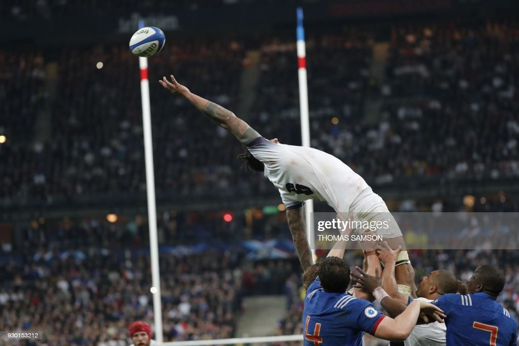 England's lock Courtney Lawes jumps for the ball in a line out during the Six Nations international rugby union match between France and England at the Stade de France in Saint-Denis, north of Paris, on March 10, 2018. PHOTO / Thomas SAMSON