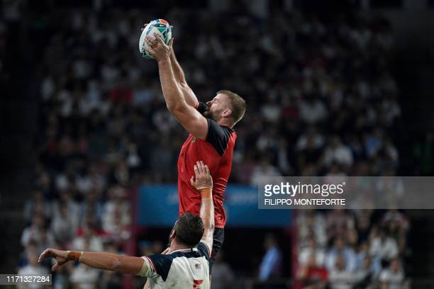 England's lock George Kruis catches the ball in a line out during the Japan 2019 Rugby World Cup Pool C match between England and the United States...