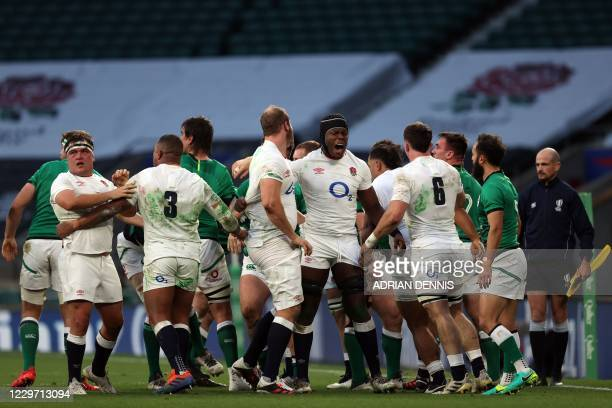 England's lock Maro Itoje celebrates after the Autumn Nations Cup international rugby union match between England and Ireland at Twickenham in...