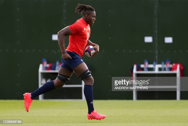 England's lock Maro Itoje runs during an England Rugby Team three-day training camp at The Lensbury in Teddington, south west London on October 7...