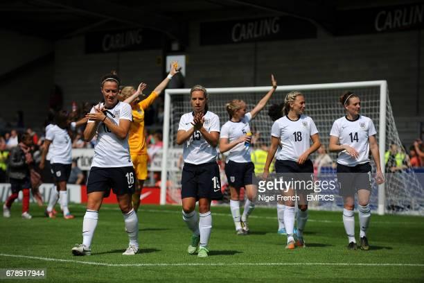 England's Lucy Bronze goalkeeper Karen Bardsley Jordan Nobbs Sophie Bradley Toni Duggan and Jade Moore applaud the crowd at the final whistle