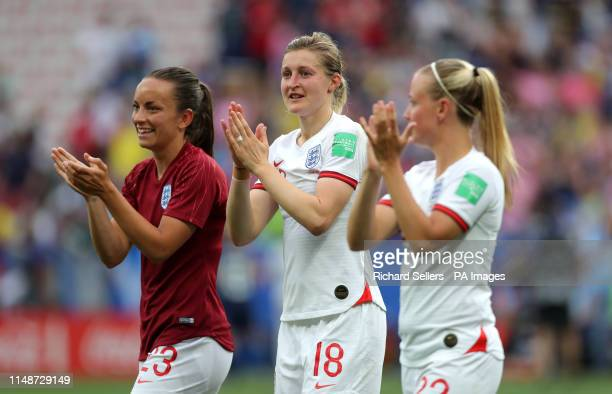 England's Lucy Staniforth Ellen White and Beth Mead react after the final whistle during the FIFA Women's World Cup Group D match at the Stade de Nice