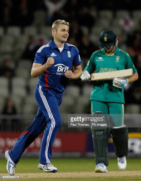 England's Luke Wright celebrates taking the wicket of South Africa's Albie Morkel during the NatWest International T20 match at Old Trafford...