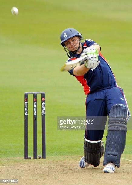 England's Luke Wright scores runs during the international one day cricket match against New Zealand at Edgbaston cricket ground, Birmingham ,...