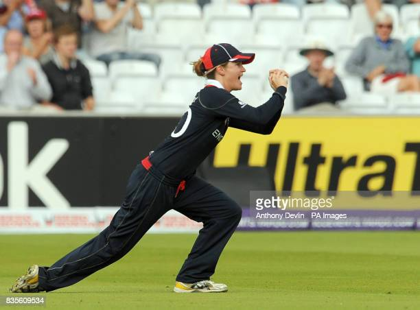 England's Lydia Greenway celebrates catching Sara McGlashan during the Final of the Womens ICC World Twenty20 at Lords London