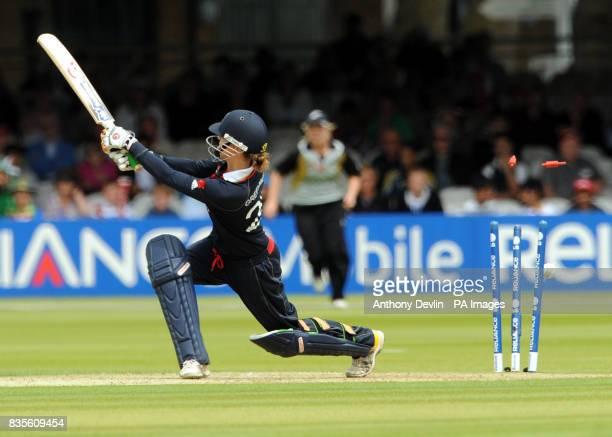 England's Lydia Greenway is bowled out by Sophie Devine during the Final of the Womens ICC World Twenty20 at Lords London