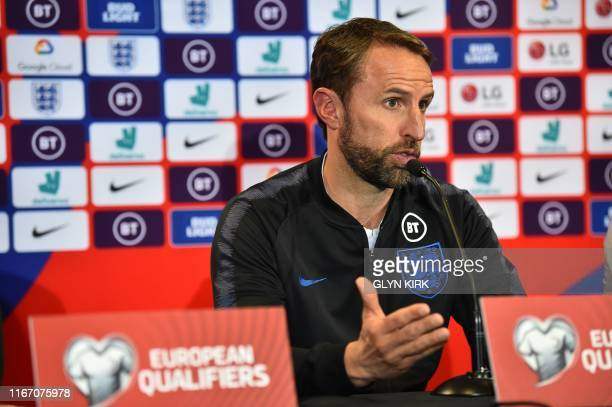 England's manager Gareth Southgate attends a press conference at St Mary's Stadium in Southampton southern England on September 9 ahead of their Euro...