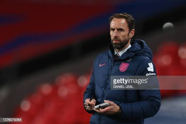 England's manager Gareth Southgate looks on during the UEFA Nations League group A2 football match between England and Denmark at Wembley stadium in...