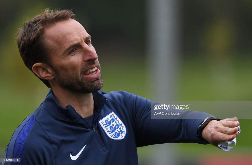 England's manager Gareth Southgate reacts during a training session at St George's Park in Burton-on-Trent on August 29, 2017, as part of an England football team media day ahead of their 2018 FIFA World Cup qualifier matches against Malta on September 1 and Slovakia on September 4. / AFP PHOTO / Paul ELLIS / NOT