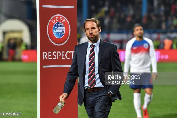 England's manager Gareth Southgate walks out of the field prior to the Euro 2020 football qualification match between Montenegro and England at...