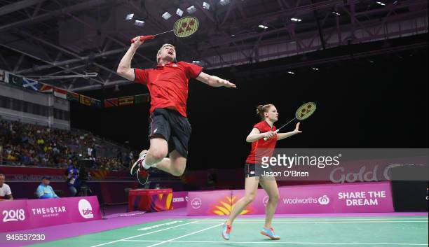 England's Marcus Ellis and Lauren Smith compete in the Mixed Quarter Finals during Badminton on day nine of the Gold Coast 2018 Commonwealth Games at...