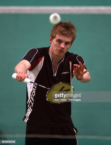England's Marcus Ellis practices during the photocall at the National Badminton Centre Milton Keynes