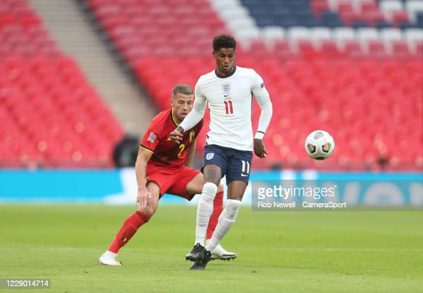 England's Marcus Rashford and Belgium's Toby Alderweireld during the UEFA Nations League group stage match between England and Belgium at Wembley...
