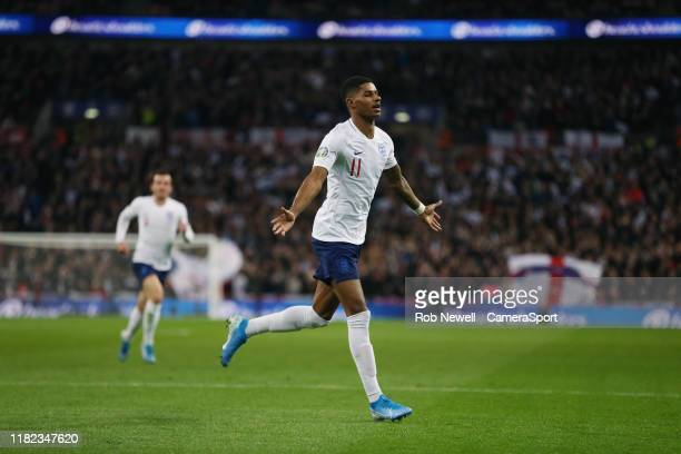 England's Marcus Rashford celebrates scoring his side's fourth goal during the UEFA Euro 2020 qualifier between England and Montenegro at Wembley...