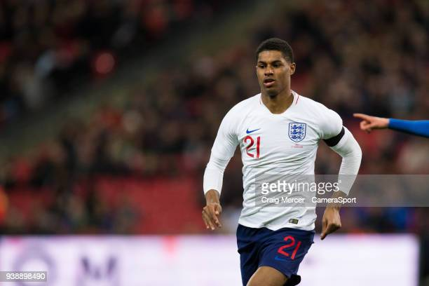 England's Marcus Rashford during the International Friendly match between England and Italy at Wembley Stadium on March 27 2018 in London England
