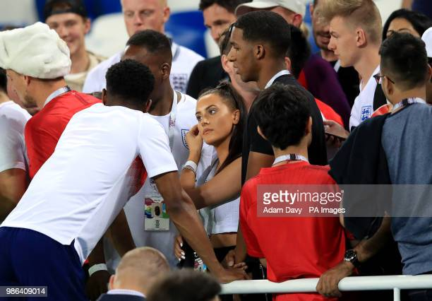 England's Marcus Rashford with girlfriend Lucia Loi after the FIFA World Cup Group G match at Kaliningrad Stadium