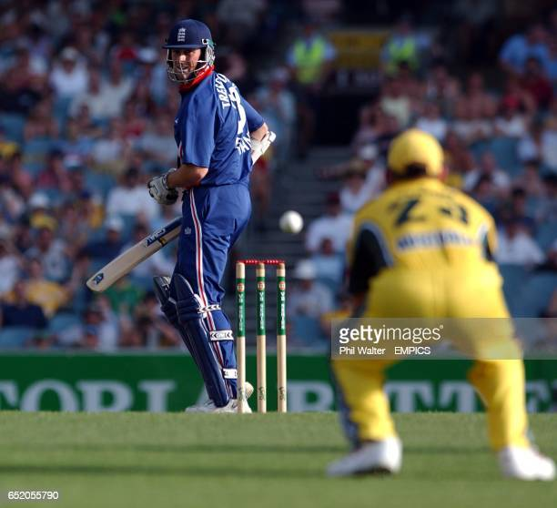 England's Marcus Trescothick edges the ball back to Australia's Shane Warne