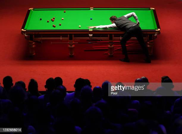 England's Mark Selby plays a shot during day 16 of the Betfred World Snooker Championships 2021 at Crucible Theatre on May 2, 2021 in Sheffield,...