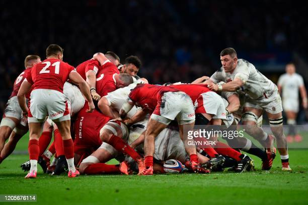 England's Mark Wilson plays a scrum during the Six Nations international rugby union match between England and Wales at the Twickenham west London on...
