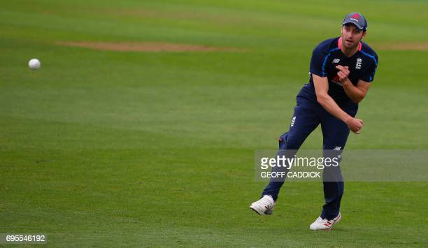 England's Mark Wood attends a team training session at the Sophia Gardens cricket ground Cardiff south Wales on June 13 ahead of their ICC Champions...