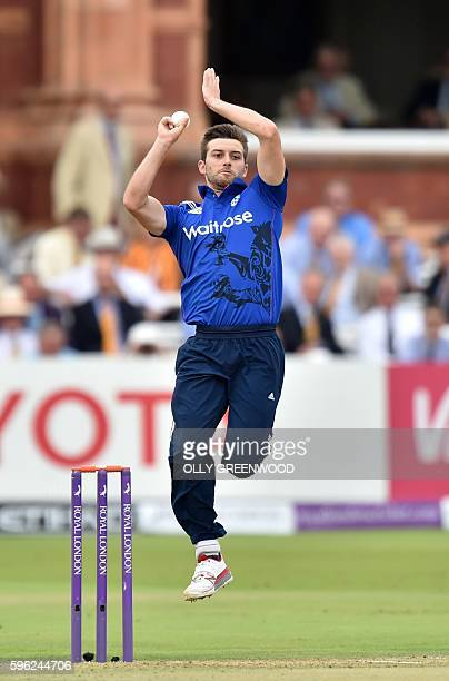 England's Mark Wood bowls during play in the second one day international cricket match between England and Pakistan at Lord's cricket ground in...