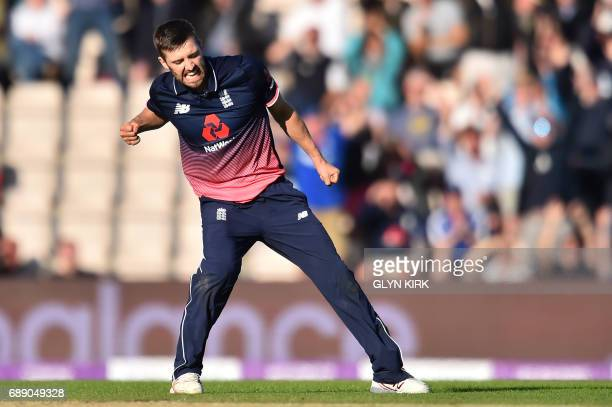 England's Mark Wood celebrates victory over South Africa by two runs at the second OneDay International between England and South Africa of the South...