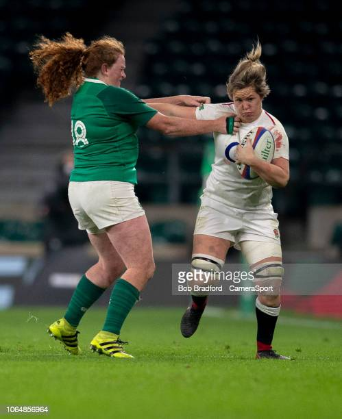 England's Marlie Packer is tackled by Ireland's Fiona Reidy during the Women's Autumn Internationals match between England Women and Ireland Women at...