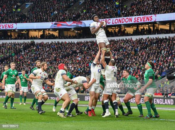 England's Maro Itoje claims the lineout during the NatWest Six Nations Championship match between England and Ireland at Twickenham Stadium on March...