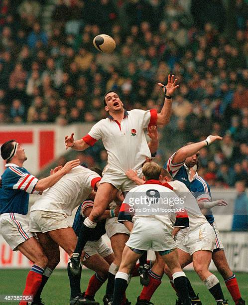 England's Martin Johnson in lineout action during the Five Nations Rugby Union International between France and England at the Parc des Princes in...