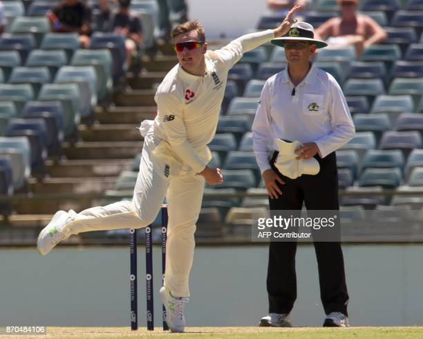 England's Mason Crane bowls during a twoday Ashes tour match against a Western Australian XI at the WACA in Perth on November 5 2017 / AFP PHOTO /...