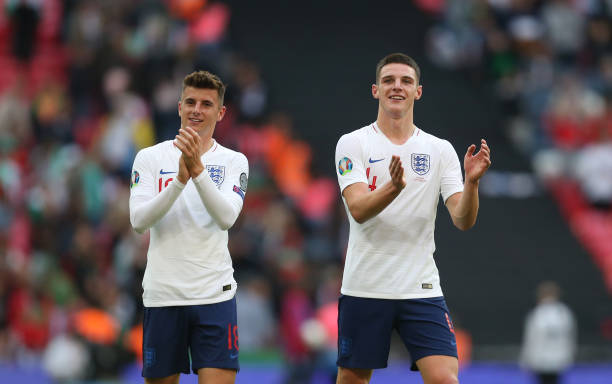 England's Mason Mount and Declan Rice at the end of the game during the UEFA Euro 2020 qualifier match between England and Bulgaria at Wembley...