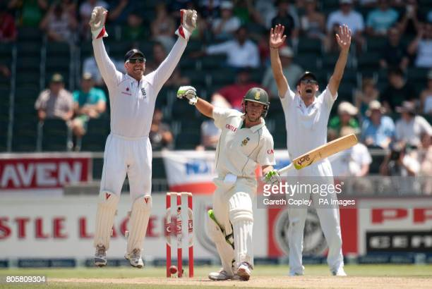 England's Matt Prior and James Anderson unsuccessfully appeal for the wicket of South Africa's AB deVilliers during the fourth Test at Wanderers...