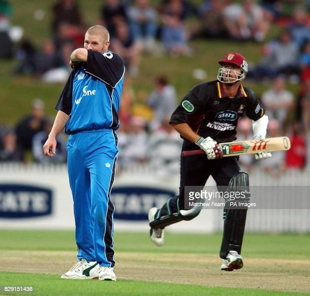 England's Matthew Hoggard reacts as Northern Knights' Simon Doull makes his way to a score of 80 during their first friendly oneday match against...