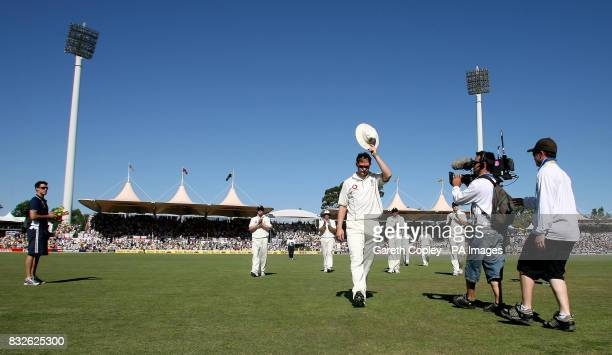 England's Matthew Hoggard salutes the crowd after taking 7 wickets as he leaves the pitch after Australia's first innings during the fourth day of...