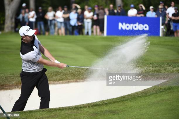 England's Max Orrin in the bunker on the 18th hole during the third day of Golf masters tournament at Barseback Golf Club on June 3 2017 News Agency...
