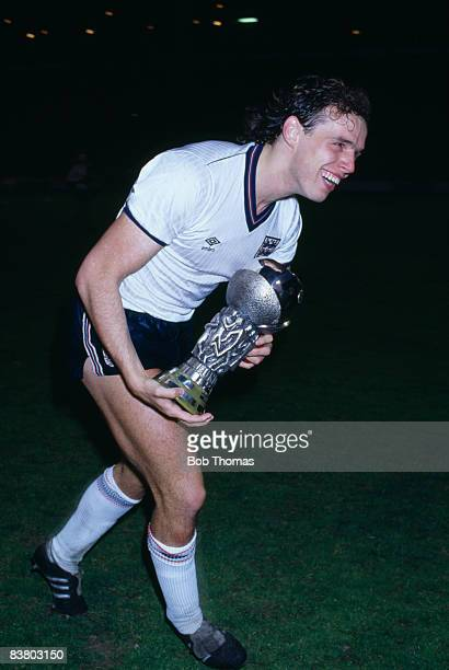 England's Mel Sterland with the European Under21 Championship Trophy after their victory in the Final against Spain at Bramall Lane Sheffield 24th...