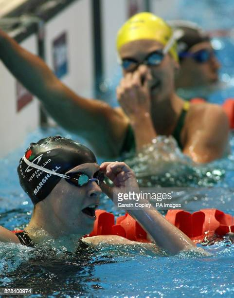 England's Melanie Marshall reacts after the Women's 200 metres Backstroke Final at the Melbourne Sports and Aquatic Centre during the 18th...